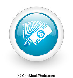 money blue circle glossy web icon on white background