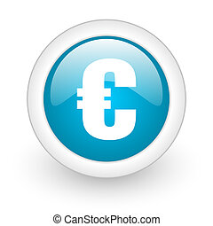 euro blue circle glossy web icon on white background