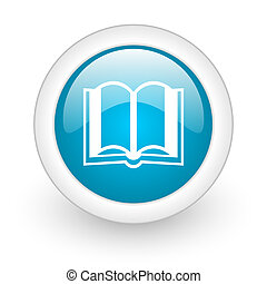 book blue circle glossy web icon on white background