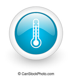 thermometer blue circle glossy web icon on white background