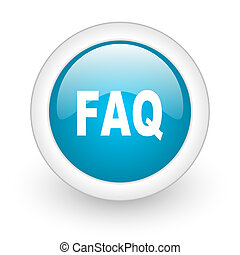 faq blue circle glossy web icon on white background