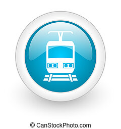 train blue circle glossy web icon on white background