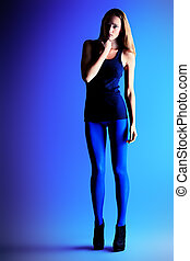 tights - Full length portrait of an attractive young woman...