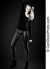 black boots - Full length portrait of an attractive young...