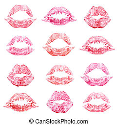Set of lipstick kiss isolated on white background