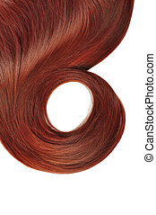 long brown hair - long red hair style isolated on white...
