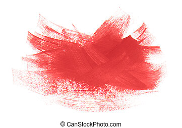 Brush strokes - acrylic paint red strokes brush isolated on...