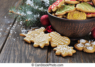 Christmas Ginger and Honey cookies on wooden background...