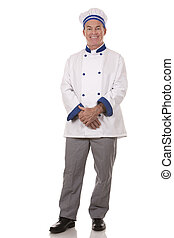 mature chef wearing workwear on white isolated background