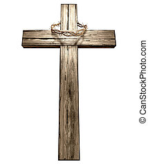 Crucifix With A Crown Of Thorns - A wooden cross that has a...