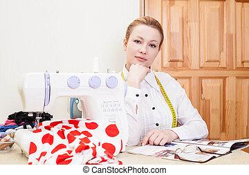 smiling dressmaker