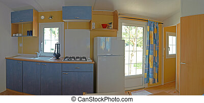 interior of Mobil-home into panoramic