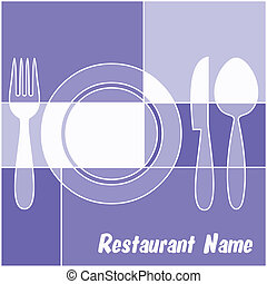 White and blue restaurant menu with fork, plate, knife and...
