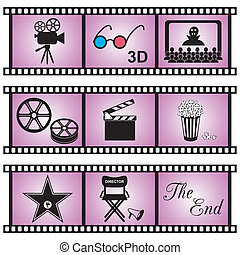 Movie icons - Set of nine movie icons in violet film stripes