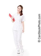 Asian nurse - Attractive Asian nurse, woman portrait against...