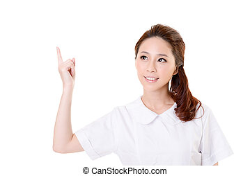 Smiling Asian nurse get an idea, closeup woman portrait...
