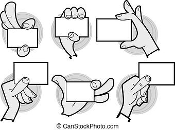 Cartoon hands holding card