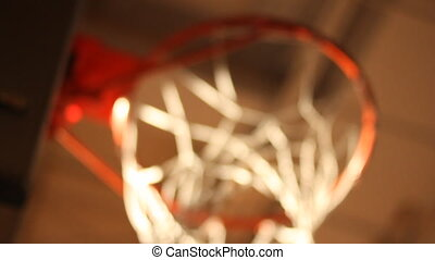 Rack focus of basketball hoop from below