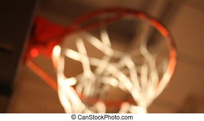 Rack focus of basketball hoop from below