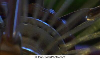Metal bike spokes spinning
