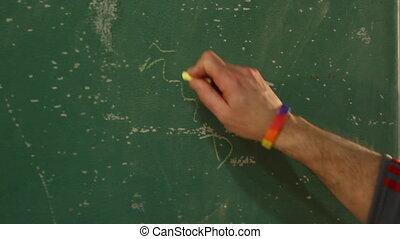 Coach drawing out play on chalkboard