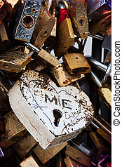 Love, locked - Detail of a love lock on the Pont de...