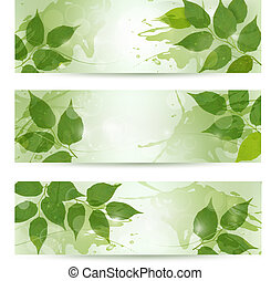 Three nature background with green spring leaves. Vector illustration.