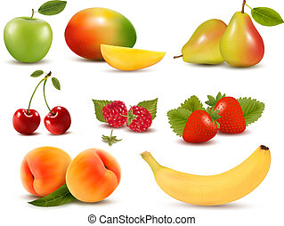 Big set of different fresh fruit and berries Vector