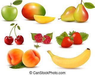grande, jogo, diferente, fresco, fruta, Bagas, vetorial