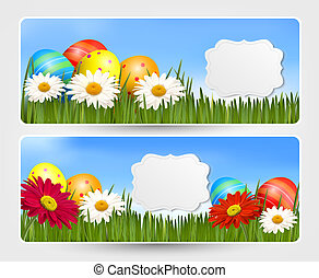 Easter banners with Easter eggs and colorful flowers. Vector...