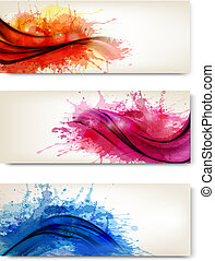 Collection of colorful abstract watercolor banners. Vector...