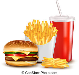 Group of fast food products Vector illustration