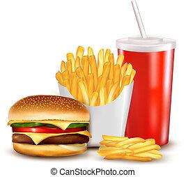 Grupo, rapidamente, alimento, produtos, vetorial,...