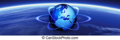 Horizon and world globe banner - Horizon and world map...