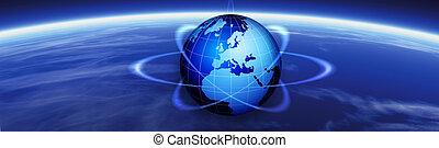 Horizon and world globe banner