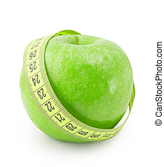 apple with measuring tape isolated over white background