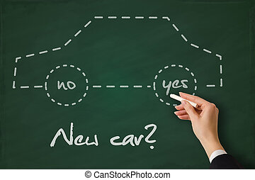 Buy a new car concept hand sketched on a blackboard
