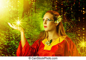 woman fairy in summer magic forest - Fairytale Young...