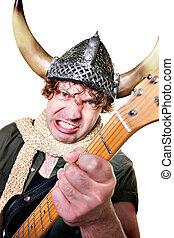 Intense Guitarist with Viking Helmet - Handsome Caucasian...