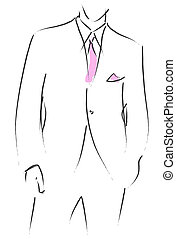 Wedding suit - Illustration of a man in a wedding suit with...