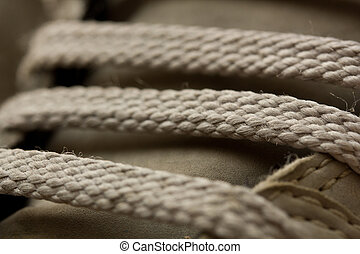 Macro Shoe Laces - A macro close up of shoe laces on a...