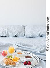 Healthy breakfast in bed