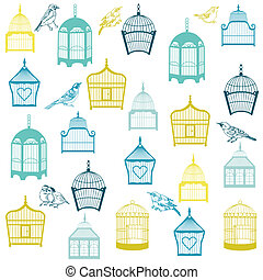 Birds and Birdcages Background - for design or scrapbook -...