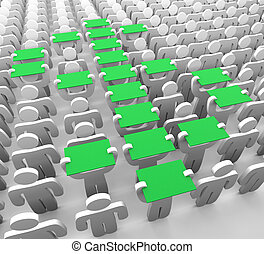 Dollar Sign Formation - several human figures hold up green...