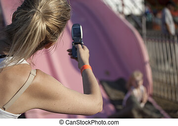 Blonde Mother Takes Photo with Cheap Cell Phone - Beautiful,...