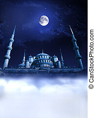 Mosque night paradise - Mosque night dream concept. Night...