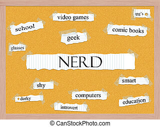 Nerd Corkboard Word Concept with great terms such as geek,...