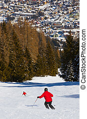 Skiers at mountains ski resort Bad Hofgastein Austria
