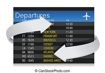 Airport departures Board with arrows