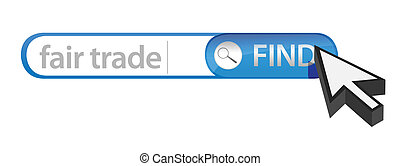 search bar containing a fair trade concept illustration...